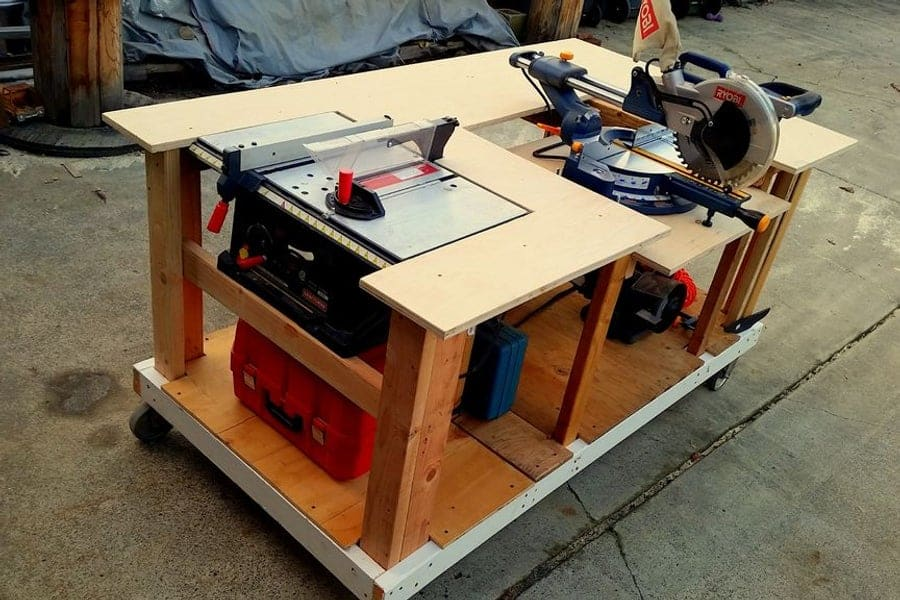Mobile Workbench with Built-In Table and Miter Saws