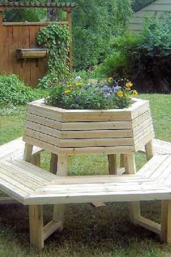Hexagonal Planter with Bench